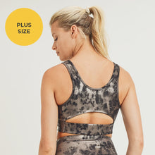 Load image into Gallery viewer, Overlay Metallic Foil Print Cut-Out Back Sports Bra