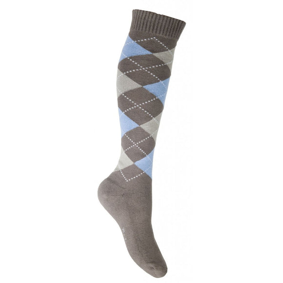 HKM Lemmy long riding socks brown blue