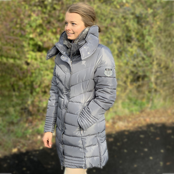 Mark Todd Deluxe Long Padded Coat - Silver Grey