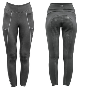 Mark Todd Winter Riding Leggings Tights with Full Seat Grip - grey