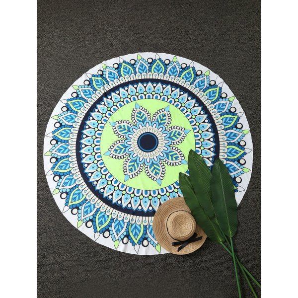 Blue and Green Round Beach Towel