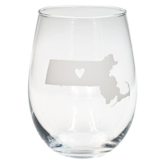 Massachusetts Frosted Wine Glass (set of 2)