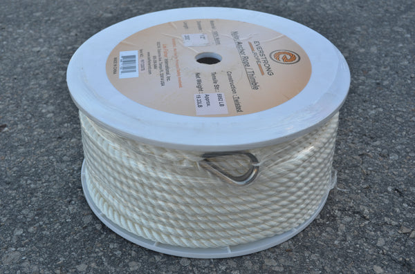 "Nylon Twisted Anchor Rope 1/2"" with stainless steel thimble in 100 ft, 300ft"