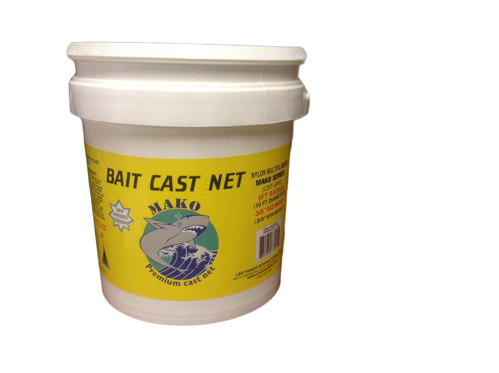 "Mako Nylon Bait Cast Nets 3/8"" Sq. Mesh"