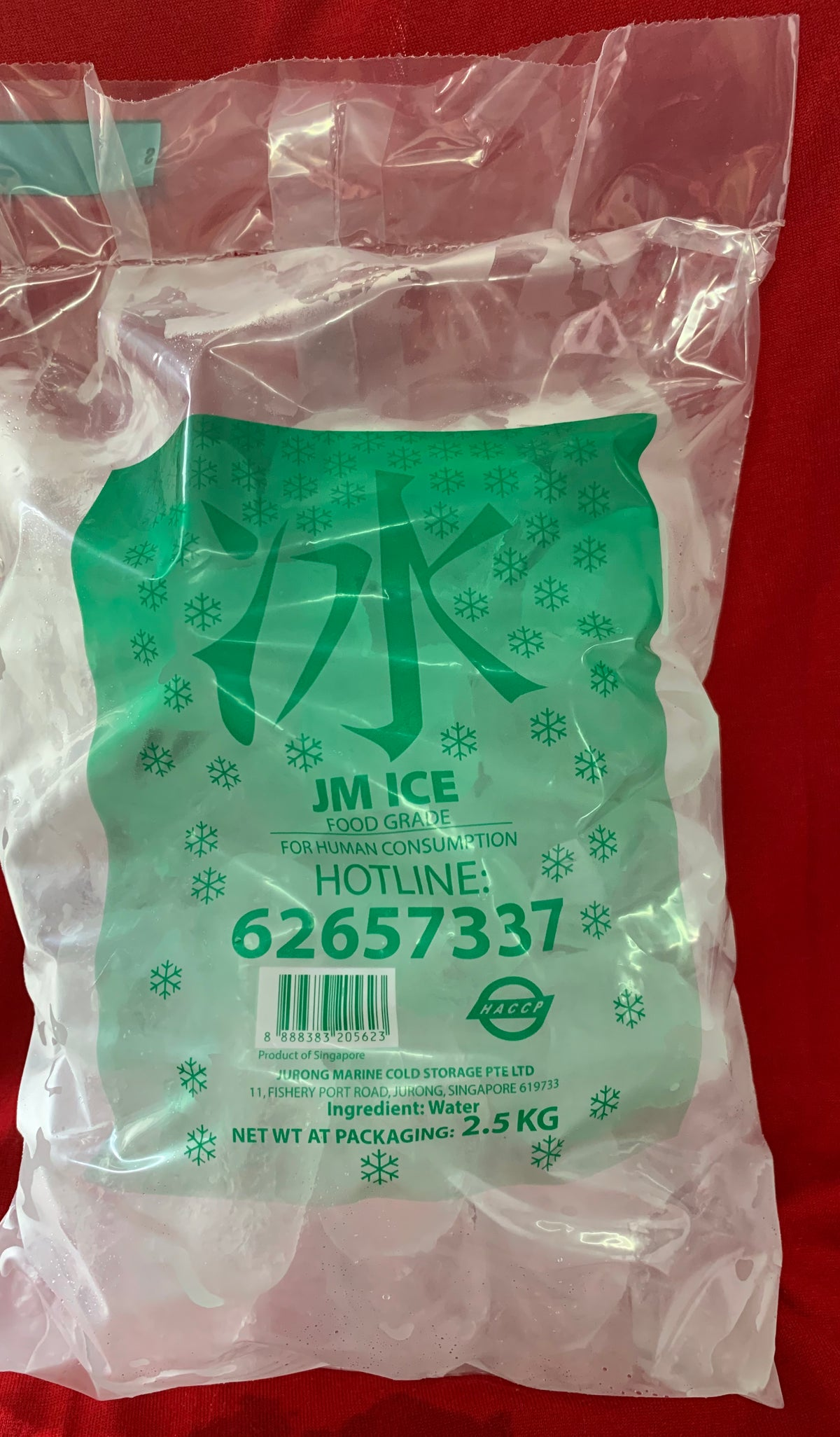 Tube Ice 2.5 kg; 5 bag @ $12.50