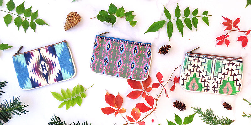 Online shopping for Small Pouches by Mlavi Studio with Exotic Ethnic Textile Patterns