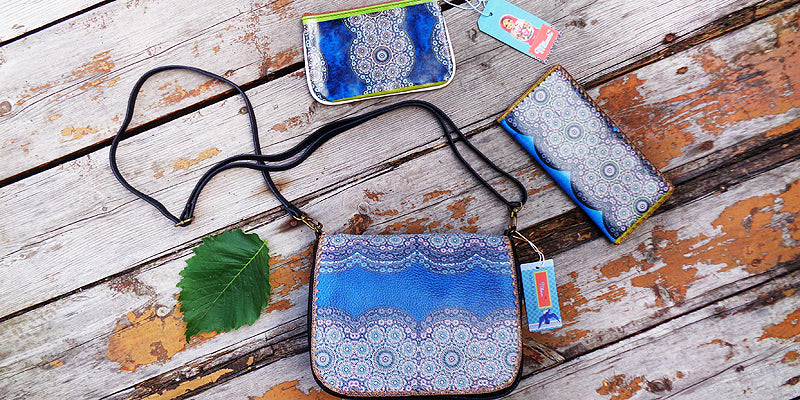 Moroccan theme printed vegan leather bags by Mlavi Studio