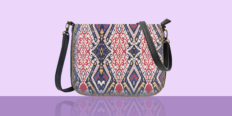 Online shopping for Mlavi studio's Ikat print vegan fashion bags for women.