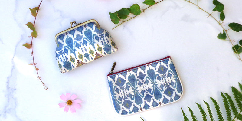 Mlavi studio designs, wholesales and retails beautiful bags, wallets, small pouches and coin purses with charming Ikat patterns.