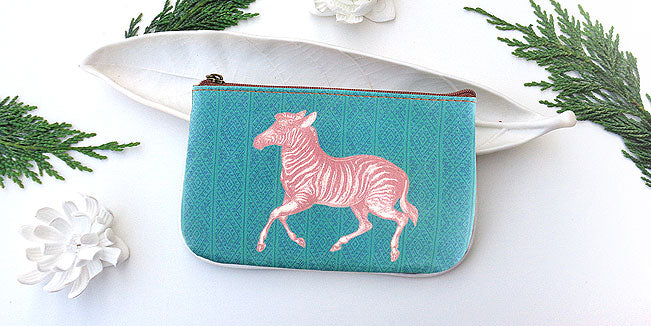 Zebra vegan leather pouch, wholesale available at www,mlavi.com