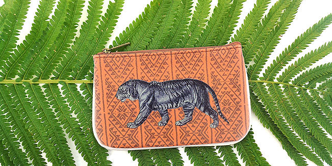 Tiger vegan leather pouch, wholesale available at www,mlavi.com