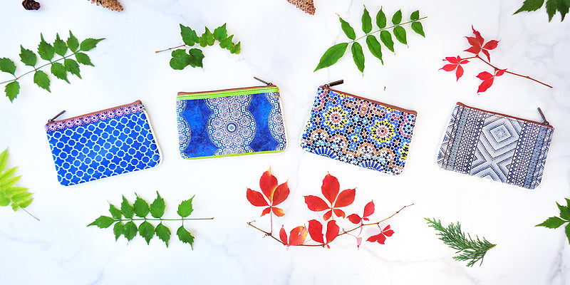Online shopping for beautiful Moroccan pattern print vegan small pouches/coin purses by Mlavi Studio