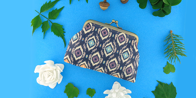 Online shopping for Mlavi studio's Ikat print vegan kiss lock frame coin purses for women.