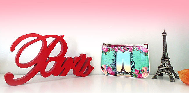 Mlavi Paris collection vegan leather bags, wallets, cardholders and travel accessories feature charming Paris inspired beautiful prints including rose, Eiffel Tower, stamps, postcards, macaron cookie and queen Marie Antoinette.