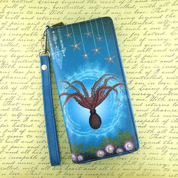 BW-OD003: Whimsical octopus large wristlet wallet