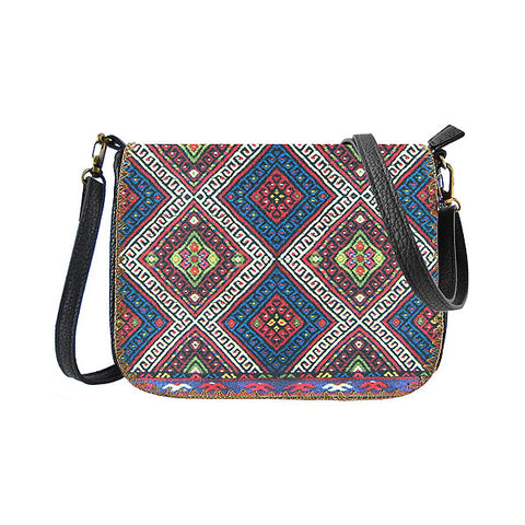 Balkan print faux/vegan leather bag: BB-BK000