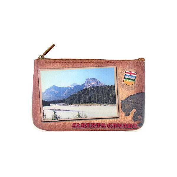Shop Mlavi Alberta landscape & bear vegan small pouch/coin purse made with durable, Eco-friendly, SGS Certified toxic-free vegan/vegan leather. Wholesale available at www.mlavi.com to gift shops, souvenir stores, fashion accessories and clothing boutiques in Canada.