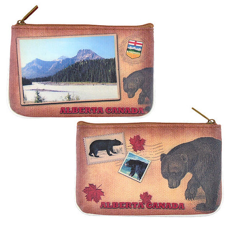 Shop Mlavi Alberta landscape & bear vegan small pouch/coin purse made with durable, Eco-friendly, SGS Certified toxic-free vegan/faux leather. Wholesale available at www.mlavi.com to gift shops, souvenir stores, fashion accessories and clothing boutiques in Canada.