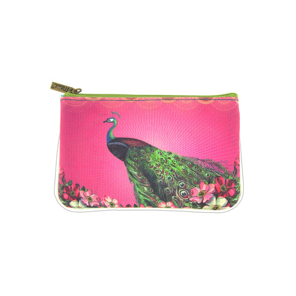 Shop Mlavi vegan leather vintage style small pouch/coin purse features whimsical peacock illustration. A great gift idea. More whimsical fashion accessories are available for wholesale at www.mlavi.com for gift shop,  , fashion accessories & clothing boutique buyers in Canada, USA & worldwide.