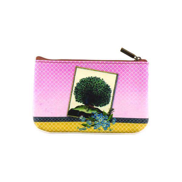 Online shopping for Mlavi whimsical peacock print small pouch/coin purse Made with durable, Eco-friendly, toxic-free vegan materials, it features different peacock prints each side inspired by vintage illustrations. Great for everyday use or as gift for friends & family. Wholesale at www.mlavi.com gift shops, boutiques.