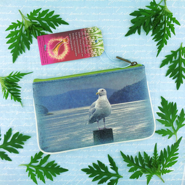 Shop Mlavi's Eco-friendly, toxic-free vegan/faux leather seabird & whale print small pouch/coin purse from Animal collection. Wholesale available at http://mlavi.com along with other fun & unique, whimsical vegan fashion accessories & gifts.