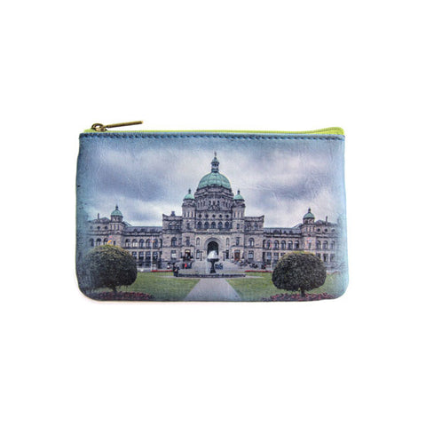 West coast ocean & victorian style building print faux leather pouch