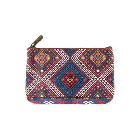 Shop Balkan textile pattern print vegan leather small pouch/coin purse by Mlavi Studio, Eco-friendly & cruelty free.