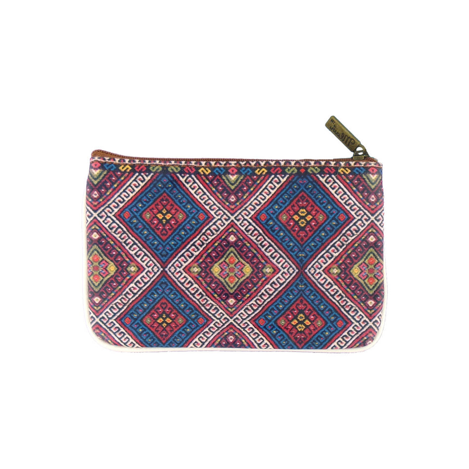 Shop Mlavi Balkan textile pattern print vegan leather small pouch/coin purse made with Eco-friendly & cruelty-free vegan materials that are ethically made. Great for everyday use or as gift. Wholesale available at www.mlavi.com for gift shops, fashion accessories & clothing boutiques in Canada, USA & worldwide.