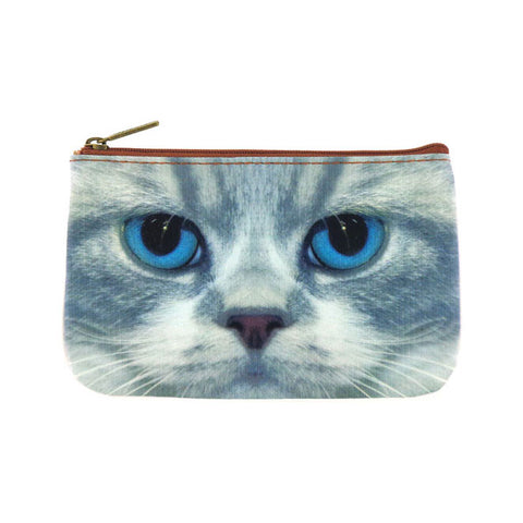 Blue eye kitty faux leather printed pouch