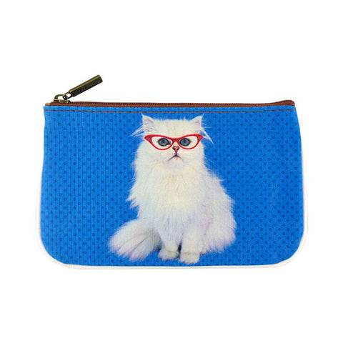Snow white cat with red eyeglasses faux leather printed pouch
