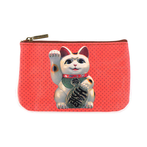Lucky cat faux leather printed pouch - Mlavi  - 1