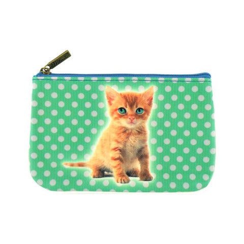 Green eye kitten faux leather printed pouch - Mlavi