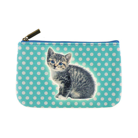 Shop for Eco-friendly, toxic-free, ethically made vegan/faux leather small pouch/coin purse with cute cat print by Mlavi Studio. Wholesale available at http://mlavi.com along with other whimsical fashion accessories