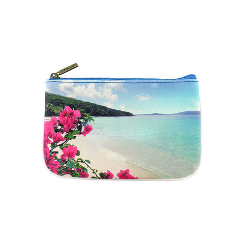 Blue ocean, sandy beach & flower print faux leather small pouch