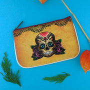 Shop Mlavi Tattoo style sugar skull vegan leather small pouch / coin purse