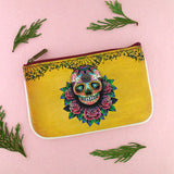 Shop Mlavi Tattoo style day of the dead skull vegan leather small pouch / coin purse