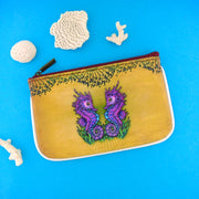 Shop Mlavi Tattoo style love seahorse vegan leather small pouch / coin purse