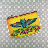 Shop Mlavi Studio Cool Tattoo collection owl & Chrysanthemum flower printed vegan pouch/coin purse. Wholesale available at http://www.mlavi.com/mlavi-tattoo-themed-vegan-bag-wallet-accessories-wholesale.html