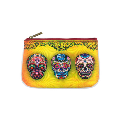 Shop Mlavi Cool Tattoo collection sugar skull printed vegan pouch/coin purse. Wholesale available at http://www.mlavi.com/mlavi-tattoo-themed-vegan-bag-wallet-accessories-wholesale.html
