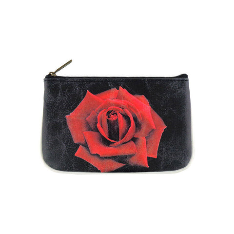 Rose flower print faux leather pouch