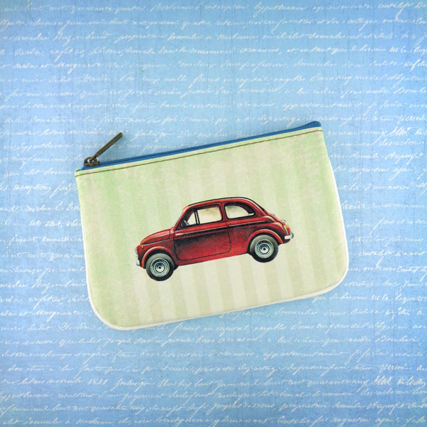 Shop Mlavi's cool retro Fiat car print vegan small pouch/coin purse made with SGS tested toxic-free Eco-friendly cruelty free vegan materials. Wholesale available at www.mlavi.com for gift shop, fashion accessories & clothing boutique in Canada, USA & worldwide.