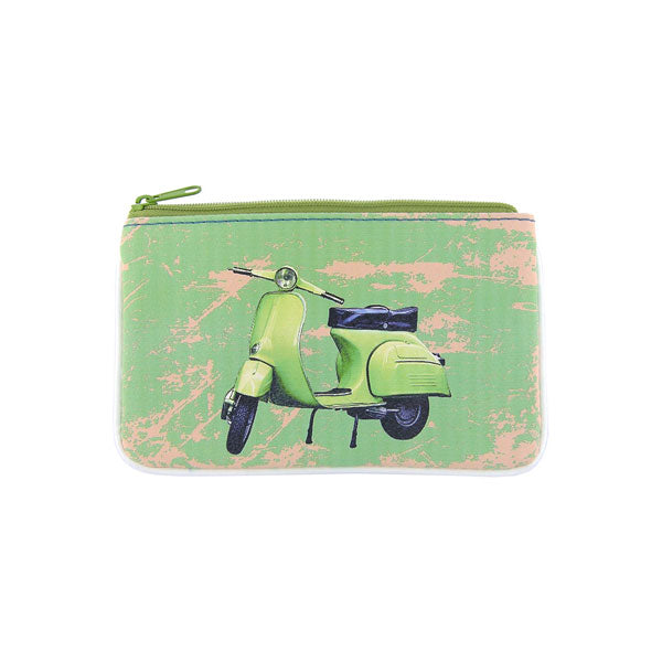 Shop Mlavi's cool retro scooter print vegan small pouch/coin purse made with SGS tested toxic-free Eco-friendly cruelty free vegan materials. Wholesale available at www.mlavi.com for gift shop, fashion accessories & clothing boutique in Canada, USA & worldwide.