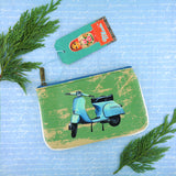 Retro scooter print faux leather pouch