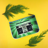 Shop Mlavi studio's cool retro boombox & cassette print vegan small pouch/coin purse made with SGS tested toxic-free Eco-friendly cruelty free vegan materials. Wholesale available at www.mlavi.com for gift shop, fashion accessories & clothing boutique in Canada, USA & worldwide.