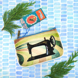 Shop Mlavi studio's cool retro sewing machine & scissor print vegan small pouch/coin purse made with SGS tested toxic-free Eco-friendly cruelty free vegan materials. Wholesale available at www.mlavi.com for gift shop, fashion accessories & clothing boutique in Canada, USA & worldwide.