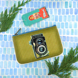 Retro camera print faux leather pouch