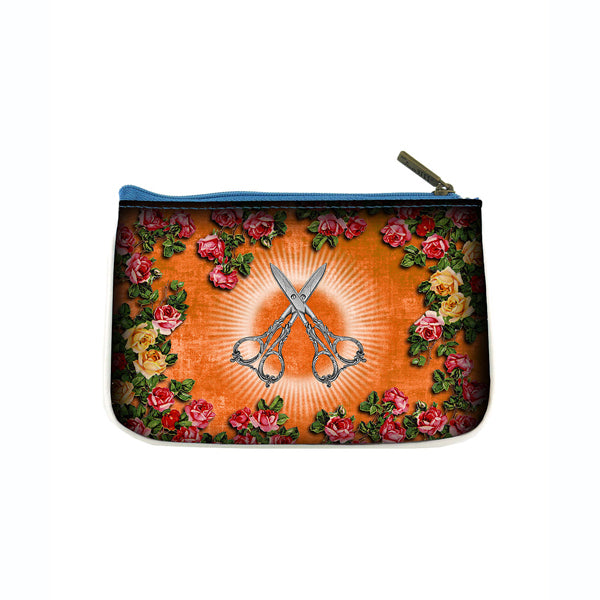 Shop Mlavi's cool retro sewing machine & scissors print vegan small pouch/coin purse made with SGS tested toxic-free Eco-friendly cruelty free vegan materials. Wholesale available at www.mlavi.com for gift shop, fashion accessories & clothing boutique in Canada, USA & worldwide.