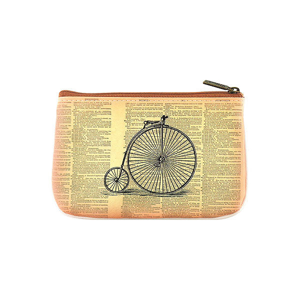 BC-GR025: Retro dog on bicycle small pouch/coin purse