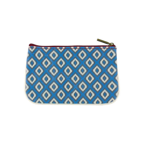 Shop whimsical beautiful Mlavi Ikat pattern print small pouch/coin purse made with Eco-friendly & cruelty free vegan materials. Gift shop & boutique buyer can order wholesale at www.mlavi.com for ethically made & unique fashion accessories including bags, wallets, purses, coin purses, travel accessories & gifts.