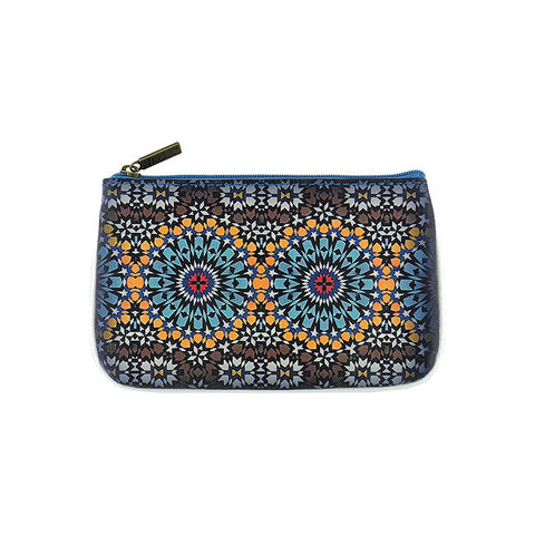 Moroccan print faux leather pouch